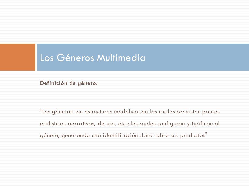 Orihuela y Santos proponen las siguientes categorías de géneros: 1.