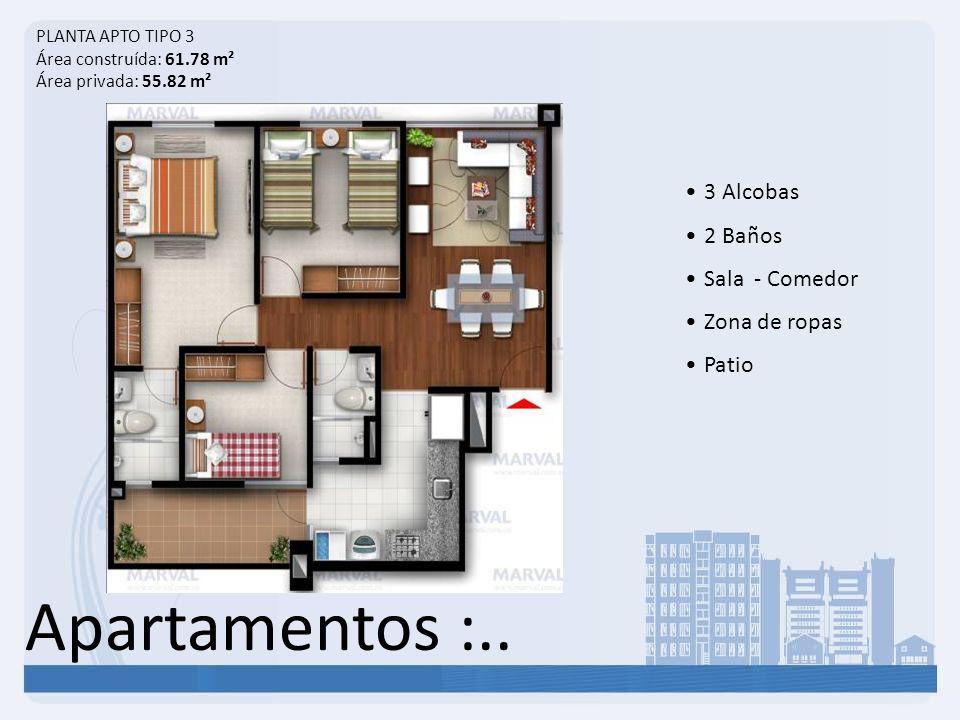 Apartamentos :.. 3 Alcobas 2 Baños Sala - Comedor Zona de ropas Patio PLANTA APTO TIPO 3 Área construída: 61.78 m² Área privada: 55.82 m²