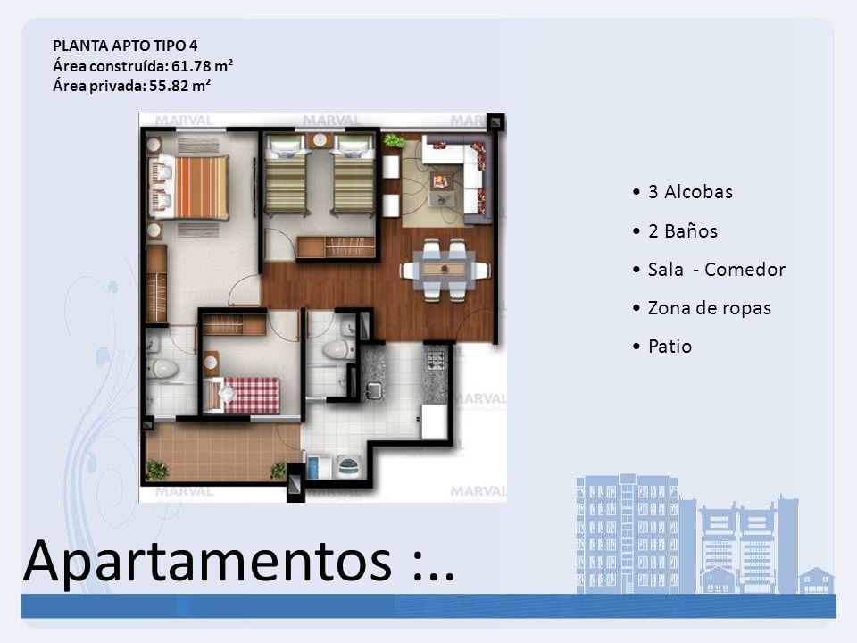 Apartamentos :.. 3 Alcobas 2 Baños Sala - Comedor Zona de ropas Patio PLANTA APTO TIPO 4 Área construída: 61.78 m² Área privada: 55.82 m²