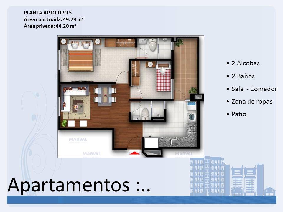Apartamentos :.. 2 Alcobas 2 Baños Sala - Comedor Zona de ropas Patio PLANTA APTO TIPO 5 Área construída: 49.29 m² Área privada: 44.20 m²