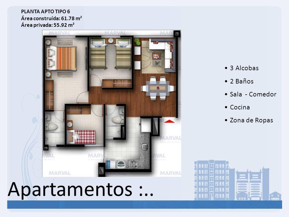 Apartamentos :.. 3 Alcobas 2 Baños Sala - Comedor Cocina Zona de Ropas PLANTA APTO TIPO 6 Área construída: 61.78 m² Área privada: 55.92 m²