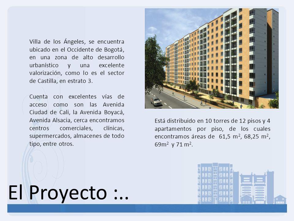 El Proyecto :.. Está distribuido en 10 torres de 12 pisos y 4 apartamentos por piso, de los cuales encontramos áreas de 61,5 m 2, 68,25 m 2, 69m 2 y 7