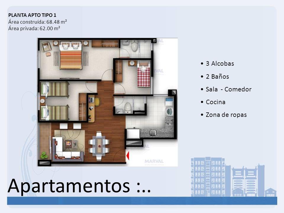 Apartamentos :.. 3 Alcobas 2 Baños Sala - Comedor Cocina Zona de ropas PLANTA APTO TIPO 1 Área construída: 68.48 m² Área privada: 62.00 m²