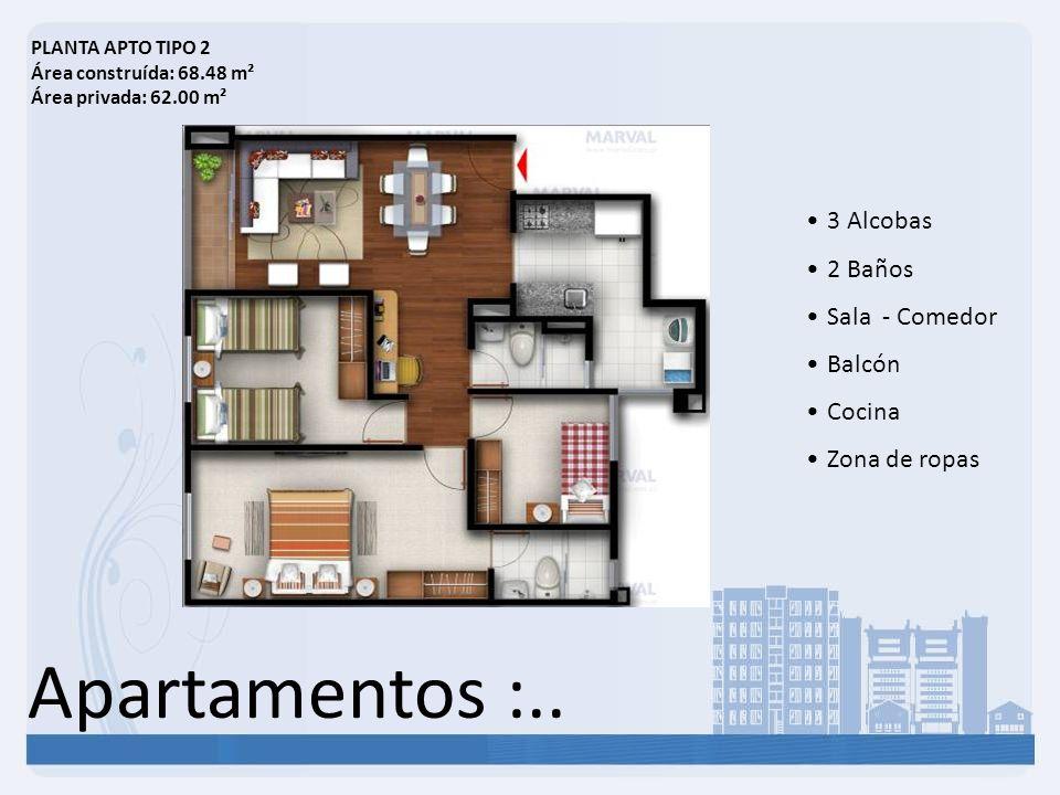 Apartamentos :.. 3 Alcobas 2 Baños Sala - Comedor Balcón Cocina Zona de ropas PLANTA APTO TIPO 2 Área construída: 68.48 m² Área privada: 62.00 m²