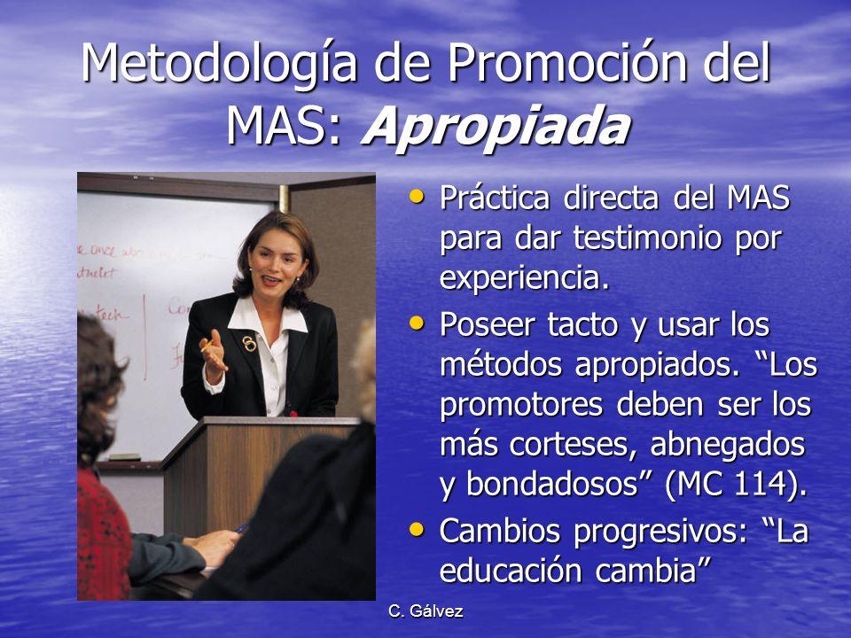 C. Gálvez Metodología de Promoción del MAS: Inadecuada Fanatismo compartido y crítica destructiva. Fanatismo compartido y crítica destructiva. Imponer