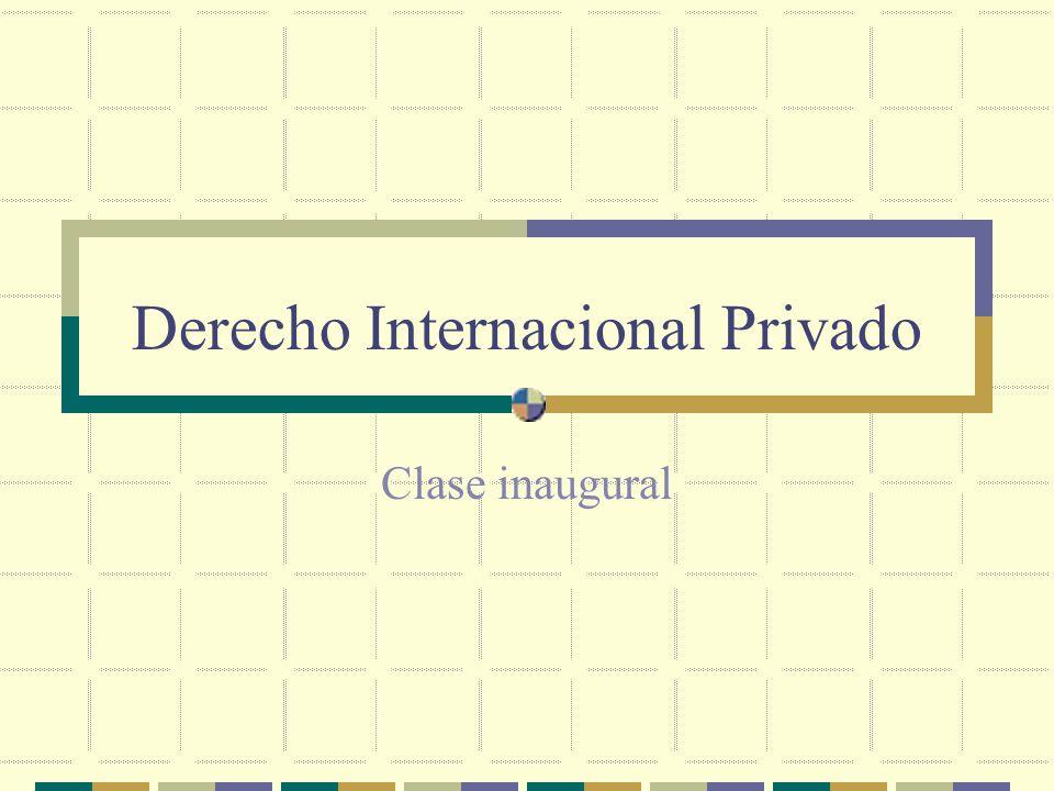 Derecho Internacional Privado Clase inaugural