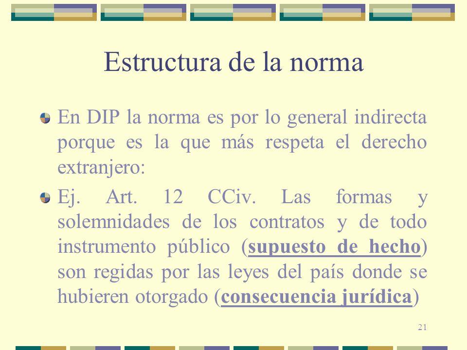 21 Estructura de la norma En DIP la norma es por lo general indirecta porque es la que más respeta el derecho extranjero: Ej. Art. 12 CCiv. Las formas