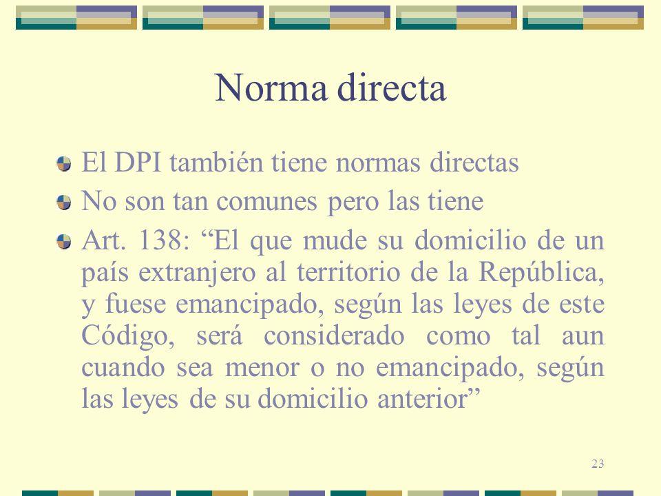 23 Norma directa El DPI también tiene normas directas No son tan comunes pero las tiene Art. 138: El que mude su domicilio de un país extranjero al te