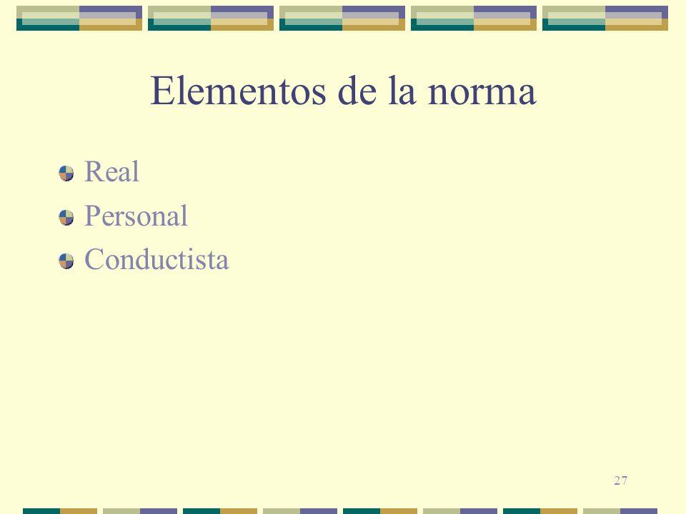 27 Elementos de la norma Real Personal Conductista