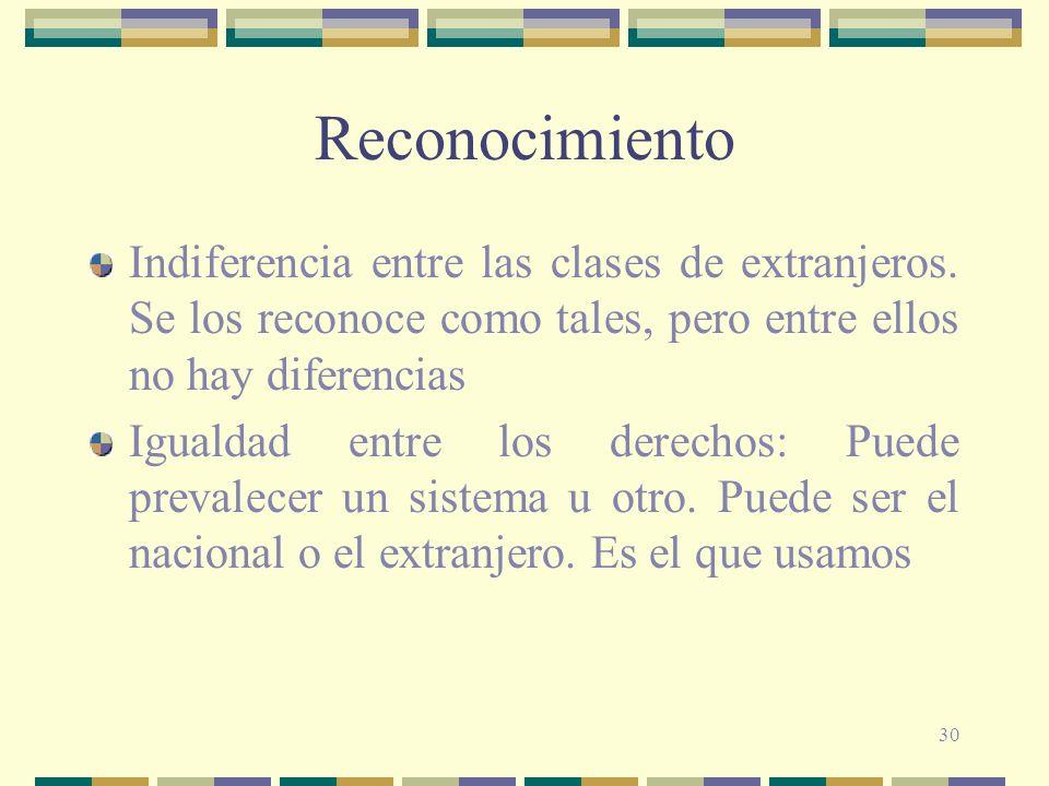 30 Reconocimiento Indiferencia entre las clases de extranjeros. Se los reconoce como tales, pero entre ellos no hay diferencias Igualdad entre los der