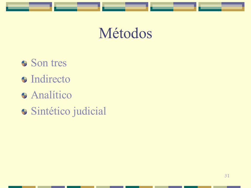 31 Métodos Son tres Indirecto Analítico Sintético judicial