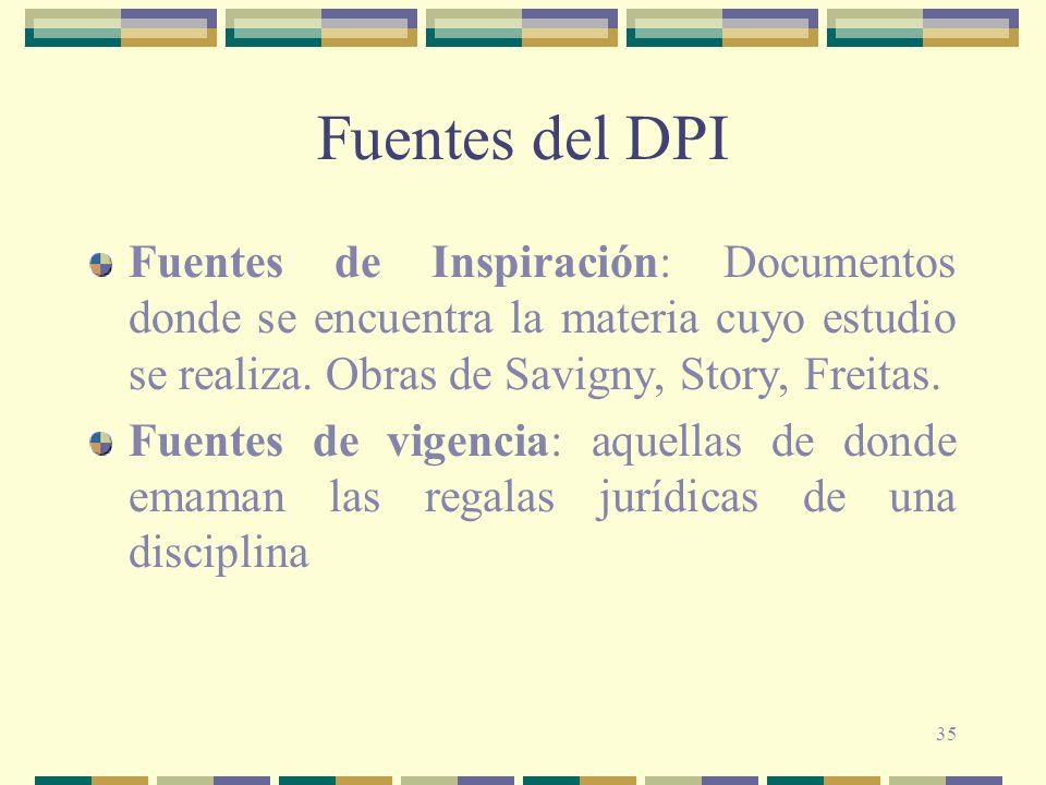35 Fuentes del DPI Fuentes de Inspiración: Documentos donde se encuentra la materia cuyo estudio se realiza. Obras de Savigny, Story, Freitas. Fuentes