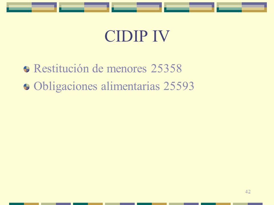 42 CIDIP IV Restitución de menores 25358 Obligaciones alimentarias 25593