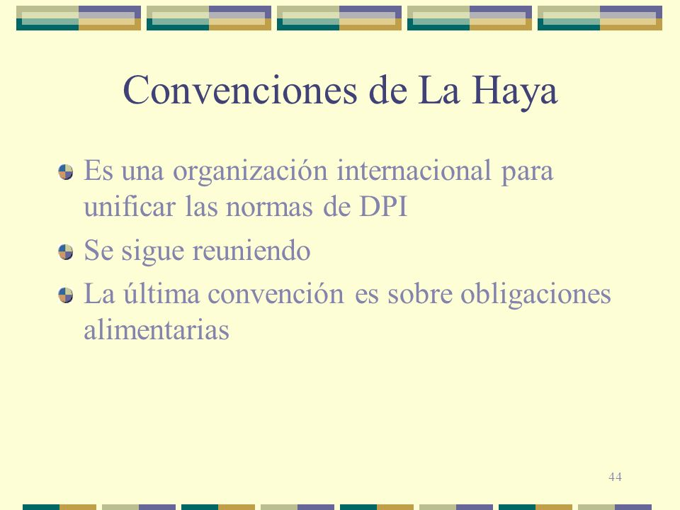 44 Convenciones de La Haya Es una organización internacional para unificar las normas de DPI Se sigue reuniendo La última convención es sobre obligaci