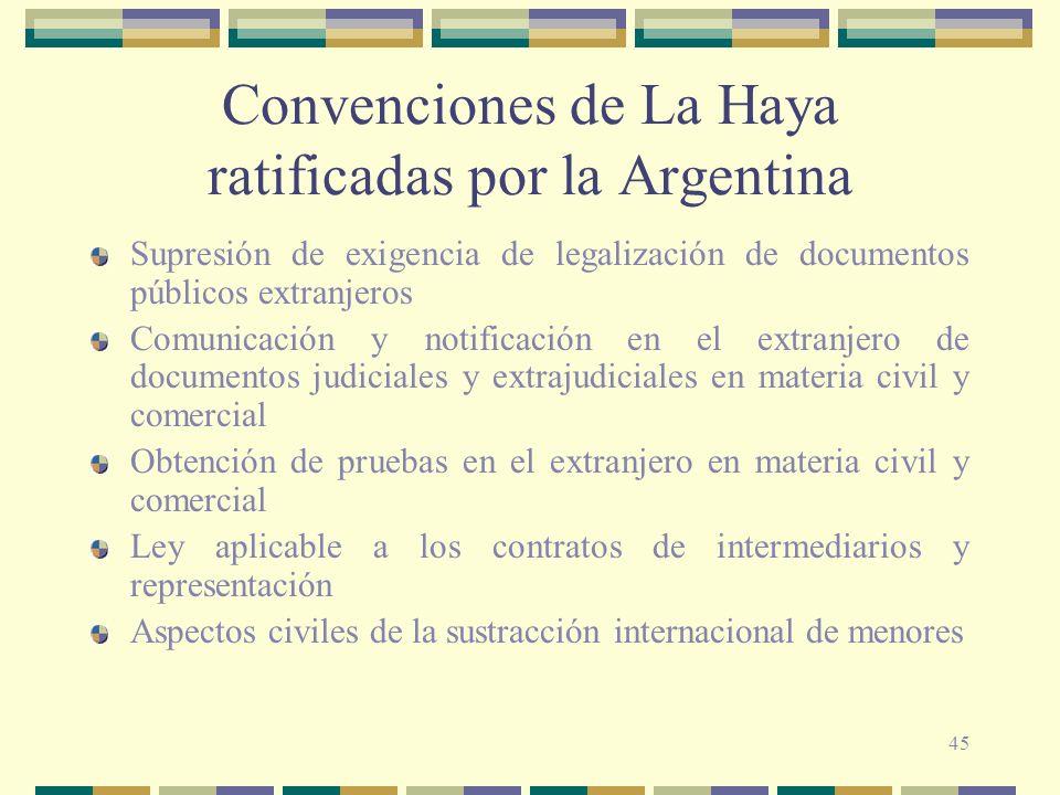 45 Convenciones de La Haya ratificadas por la Argentina Supresión de exigencia de legalización de documentos públicos extranjeros Comunicación y notif