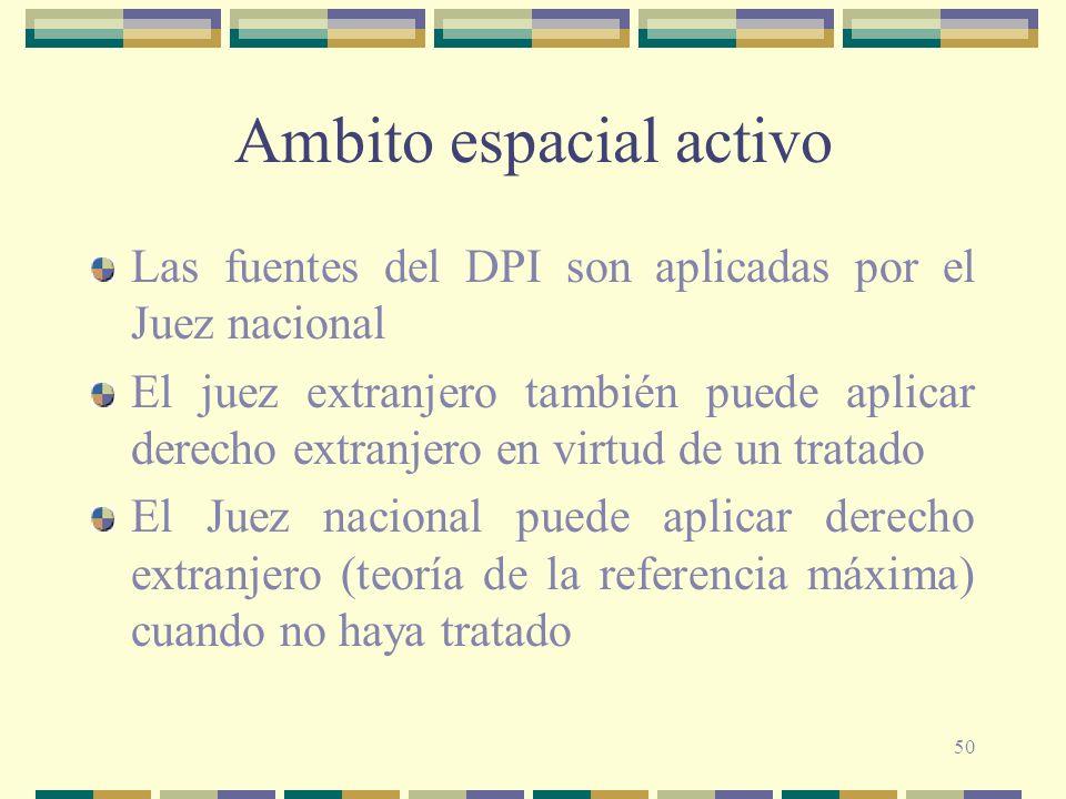 50 Ambito espacial activo Las fuentes del DPI son aplicadas por el Juez nacional El juez extranjero también puede aplicar derecho extranjero en virtud