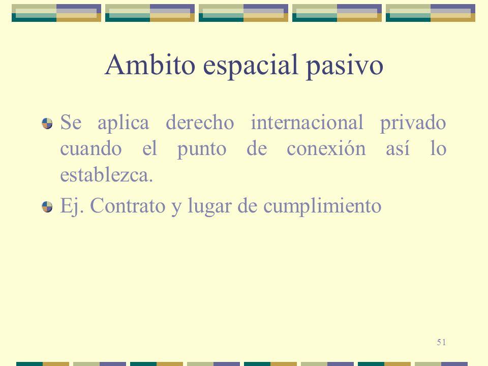 51 Ambito espacial pasivo Se aplica derecho internacional privado cuando el punto de conexión así lo establezca. Ej. Contrato y lugar de cumplimiento