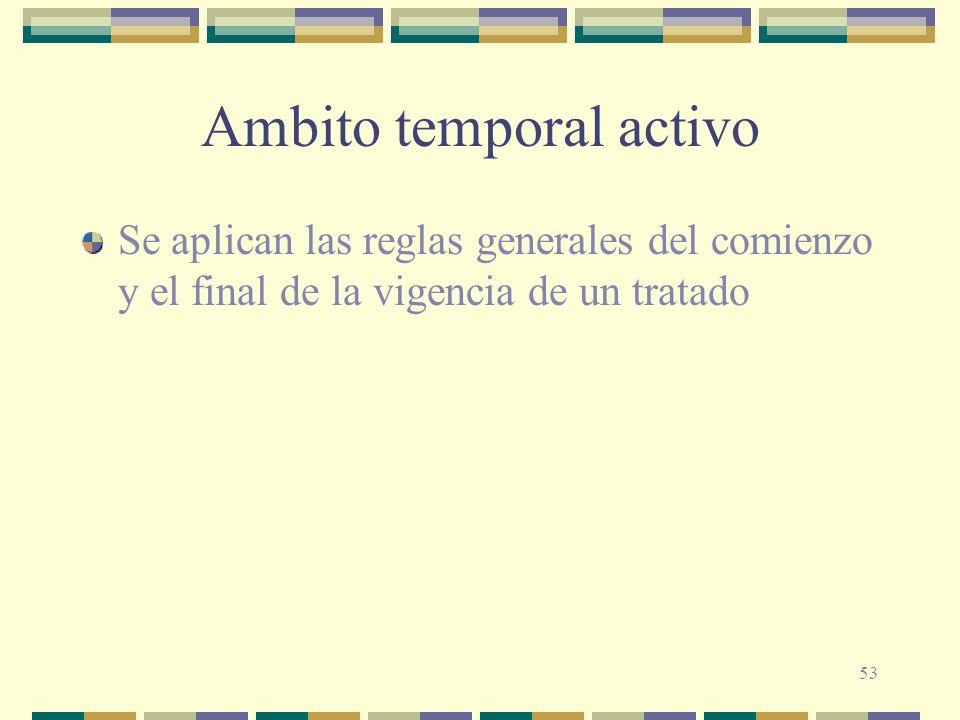 53 Ambito temporal activo Se aplican las reglas generales del comienzo y el final de la vigencia de un tratado