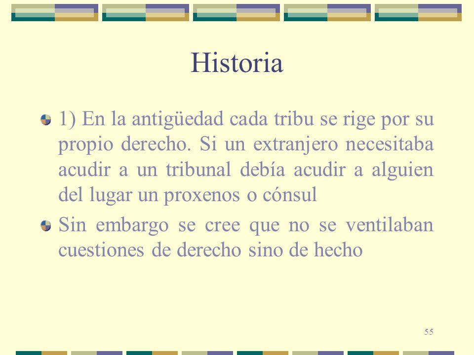 55 Historia 1) En la antigüedad cada tribu se rige por su propio derecho. Si un extranjero necesitaba acudir a un tribunal debía acudir a alguien del