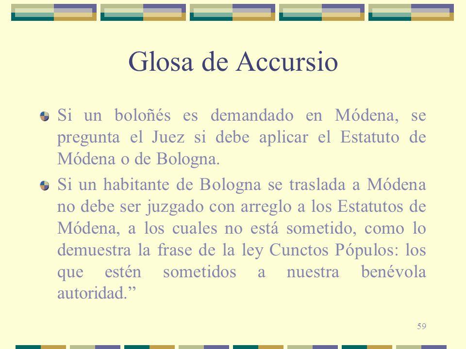 59 Glosa de Accursio Si un boloñés es demandado en Módena, se pregunta el Juez si debe aplicar el Estatuto de Módena o de Bologna. Si un habitante de
