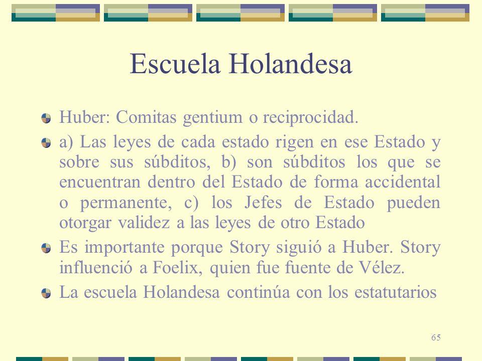65 Escuela Holandesa Huber: Comitas gentium o reciprocidad. a) Las leyes de cada estado rigen en ese Estado y sobre sus súbditos, b) son súbditos los