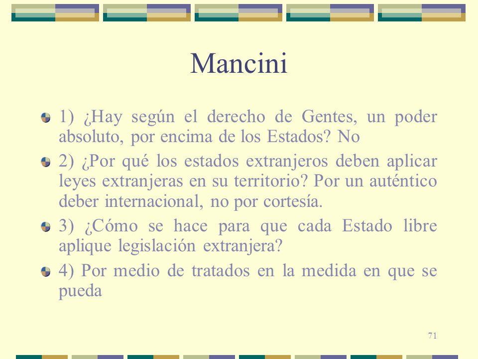 71 Mancini 1) ¿Hay según el derecho de Gentes, un poder absoluto, por encima de los Estados? No 2) ¿Por qué los estados extranjeros deben aplicar leye
