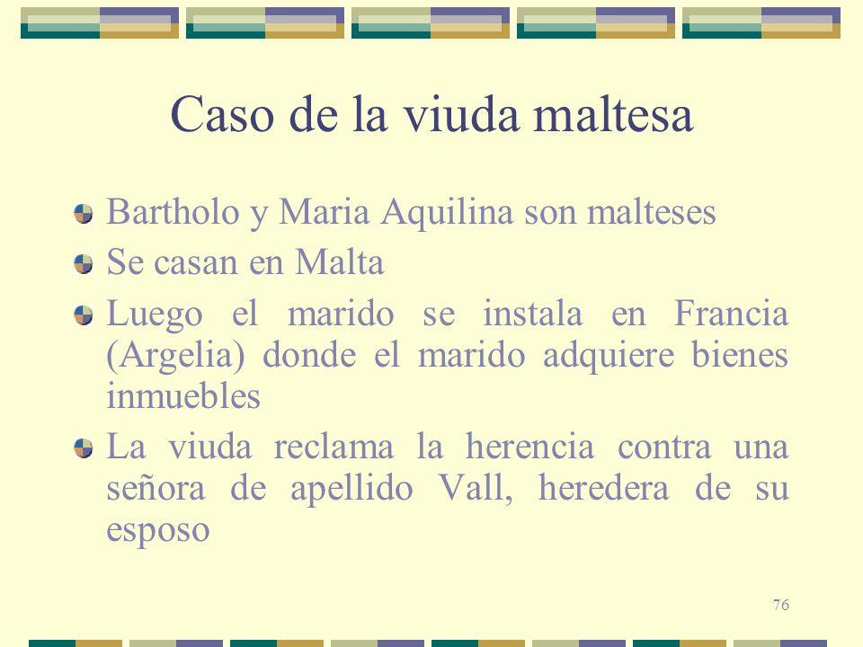 76 Caso de la viuda maltesa Bartholo y Maria Aquilina son malteses Se casan en Malta Luego el marido se instala en Francia (Argelia) donde el marido a