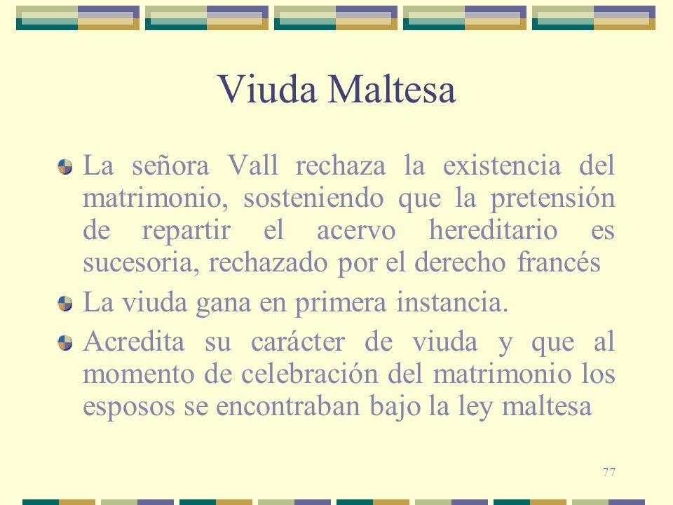 77 Viuda Maltesa La señora Vall rechaza la existencia del matrimonio, sosteniendo que la pretensión de repartir el acervo hereditario es sucesoria, re
