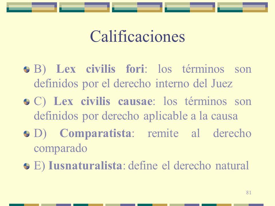 81 Calificaciones B) Lex civilis fori: los términos son definidos por el derecho interno del Juez C) Lex civilis causae: los términos son definidos po