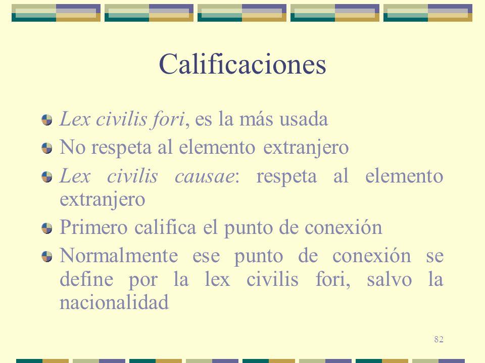 82 Calificaciones Lex civilis fori, es la más usada No respeta al elemento extranjero Lex civilis causae: respeta al elemento extranjero Primero calif