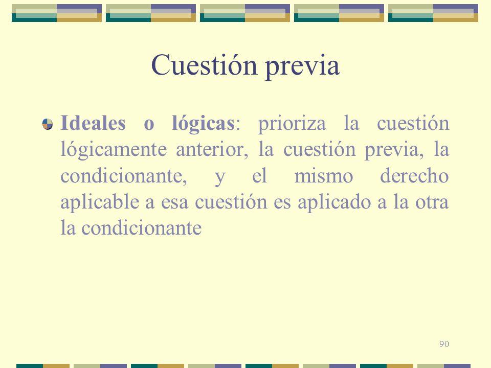 90 Cuestión previa Ideales o lógicas: prioriza la cuestión lógicamente anterior, la cuestión previa, la condicionante, y el mismo derecho aplicable a