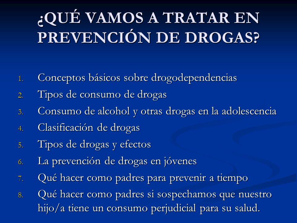 ¿QUÉ VAMOS A TRATAR EN PREVENCIÓN DE DROGAS? 1. Conceptos básicos sobre drogodependencias 2. Tipos de consumo de drogas 3. Consumo de alcohol y otras
