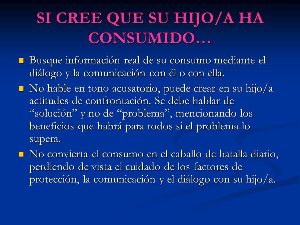 SI CREE QUE SU HIJO/A HA CONSUMIDO… Busque información real de su consumo mediante el diálogo y la comunicación con él o con ella. Busque información