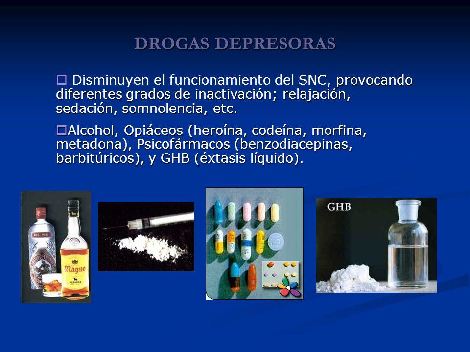 DROGAS DEPRESORAS provocando diferentes grados de inactivación; relajación, sedación, somnolencia, etc. Disminuyen el funcionamiento del SNC, provocan