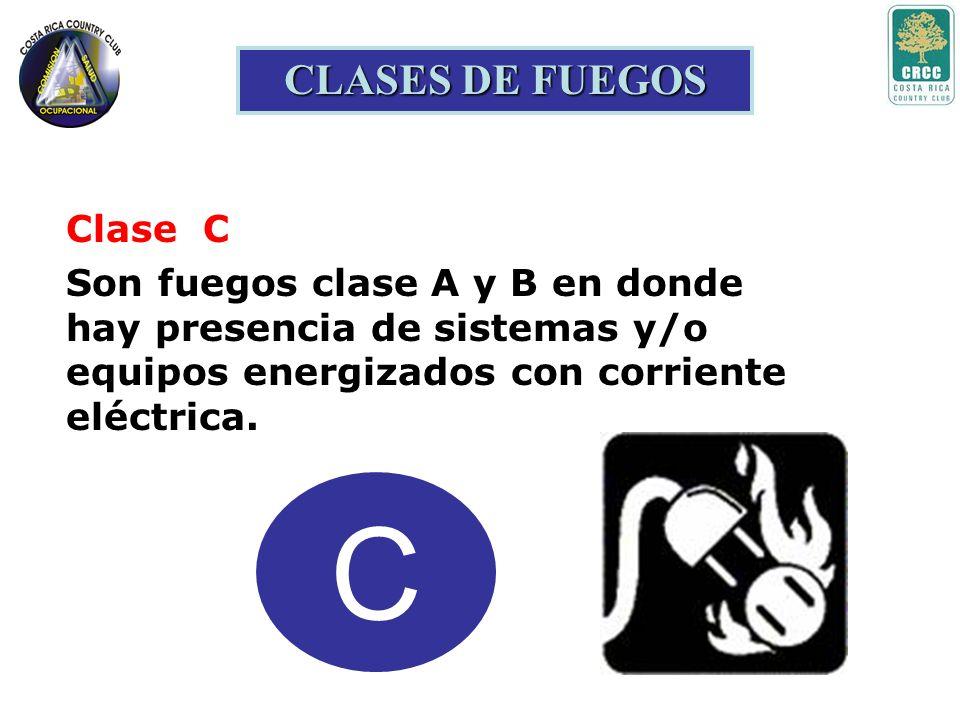 B CLASES DE FUEGOS Clase B Son fuegos producidos por líquidos (inflamables y combustibles) y gases. Ejemplos: aceites, grasas, derivados del petróleo,