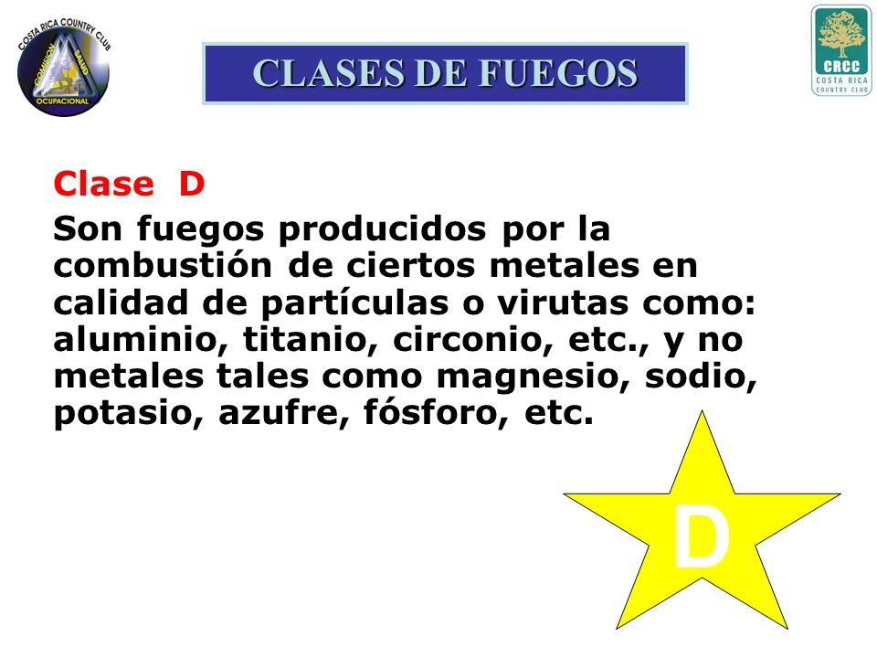 C CLASES DE FUEGOS Clase C Son fuegos clase A y B en donde hay presencia de sistemas y/o equipos energizados con corriente eléctrica.