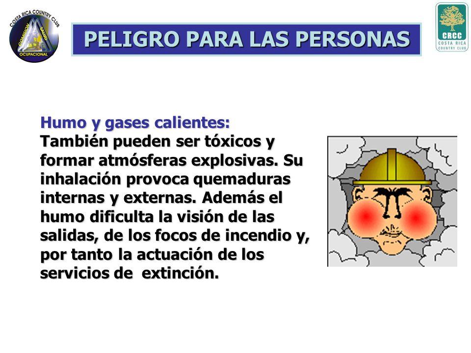 PELIGRO PARA LAS PERSONAS Generación de gases tóxicos: Es el principal causante de las muertes que se producen en los incendios. Su toxicidad depender