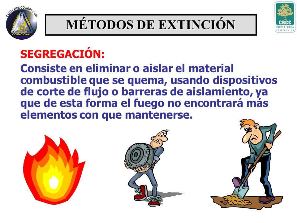MÉTODOS DE EXTINCIÓN ENFRIAMIENTO Con este método se logra reducir la temperatura de los combustibles para romper el equilibrio térmico y así lograr d