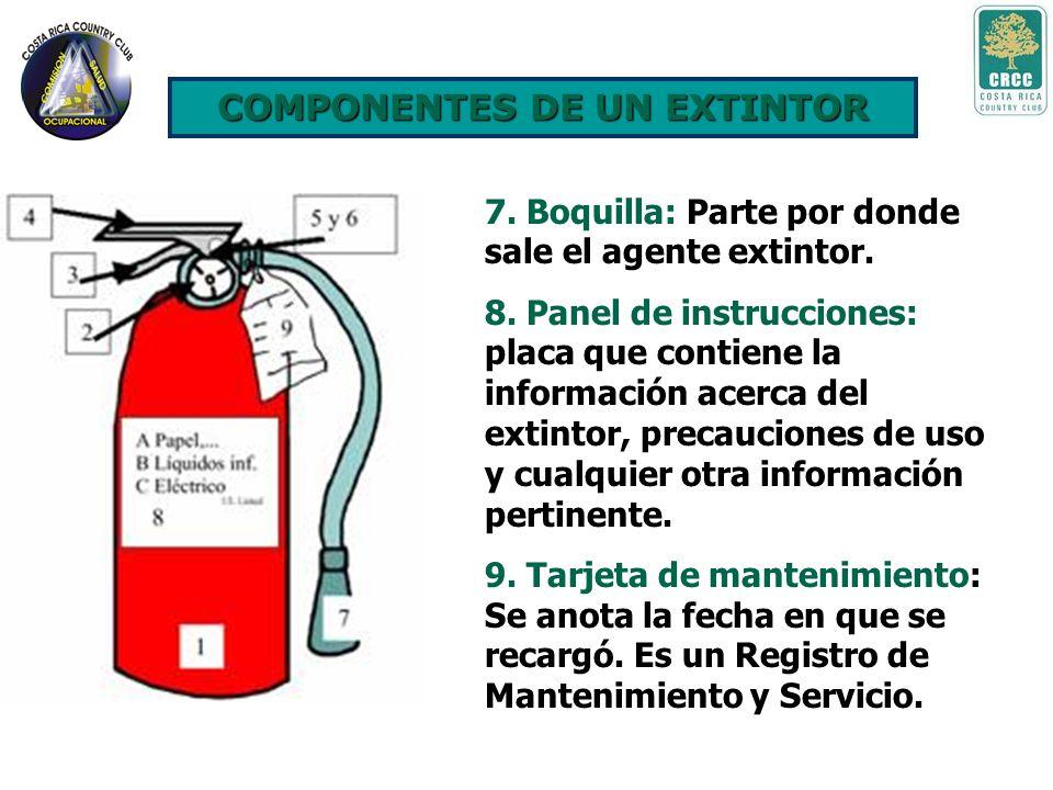 4. Mango: Parte metálica fija por la cual se agarra el extintor cuando se utiliza. 5. Pasador de seguridad: Metal que fija la palanca y evita que se a