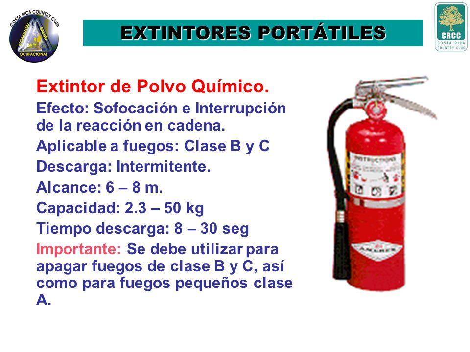 Extintor de Dióxido de Carbono (CO 2 ) Efecto: Sofocación. Descarga: Intermitente. Capacidad: 2.3 - 92 kg Alcance: 2 – 3 m. Agente expulsor: CO 2 Apli
