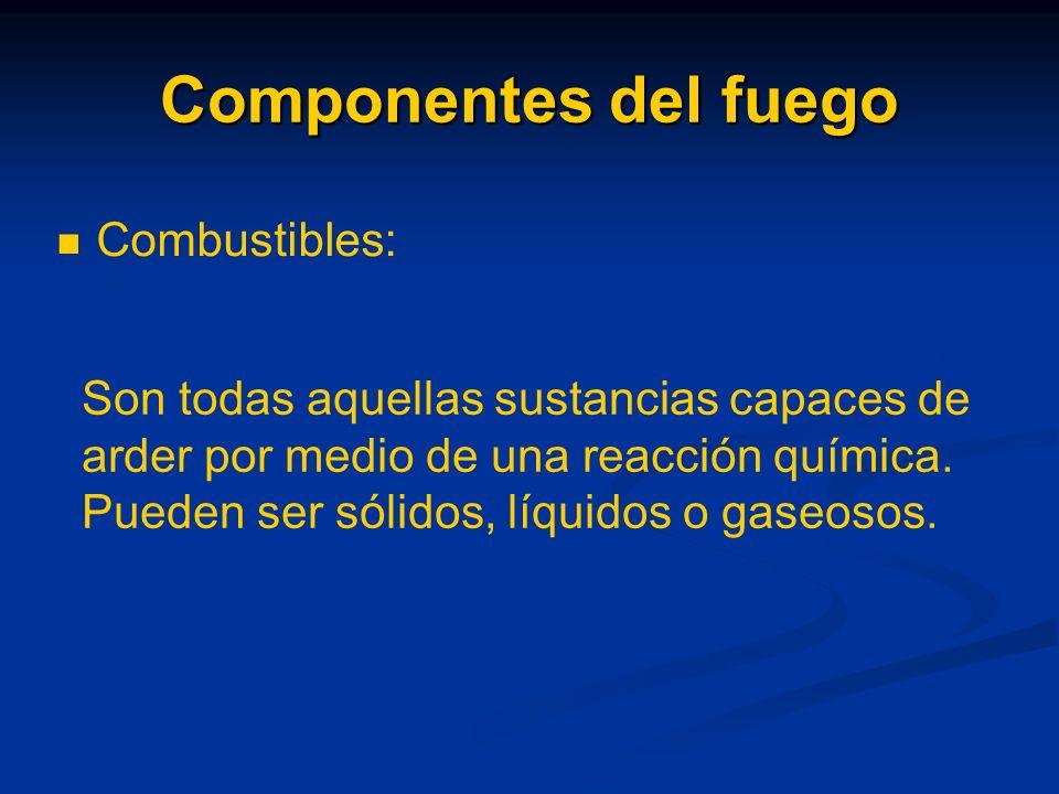 Componentes del fuego Combustibles: Son todas aquellas sustancias capaces de arder por medio de una reacción química.