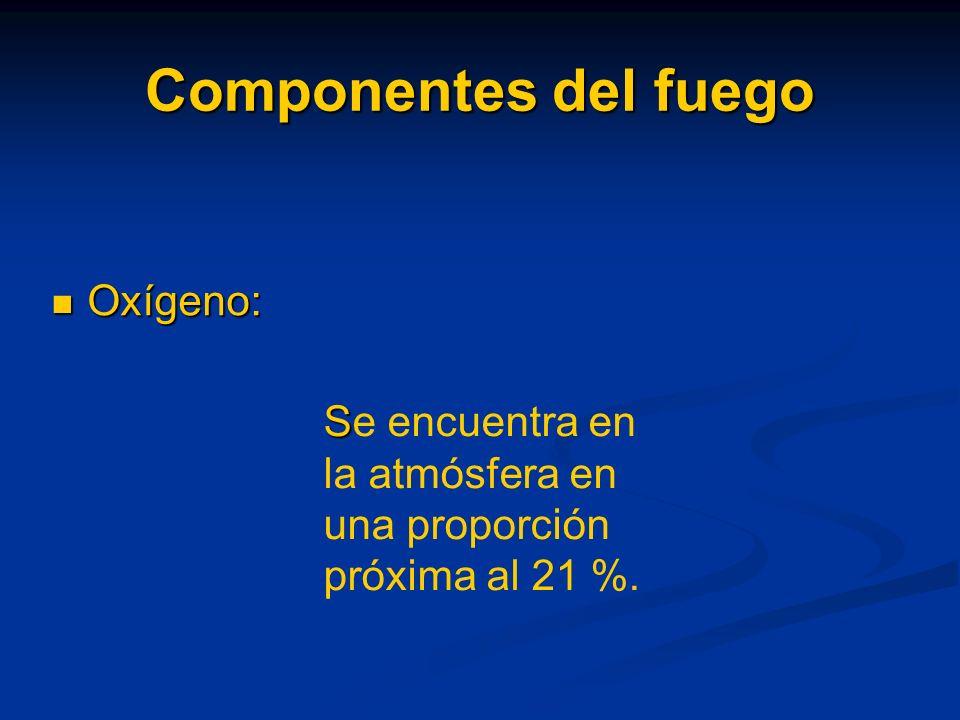 Componentes del fuego Combustibles: Son todas aquellas sustancias capaces de arder por medio de una reacción química. Pueden ser sólidos, líquidos o g