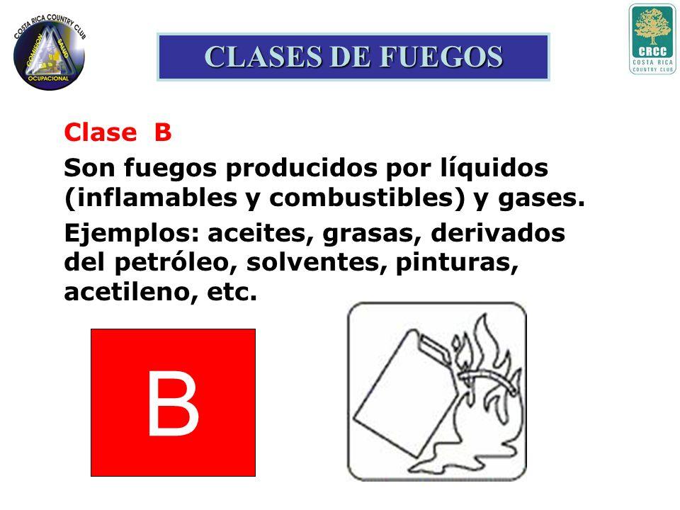 B CLASES DE FUEGOS Clase B Son fuegos producidos por líquidos (inflamables y combustibles) y gases.