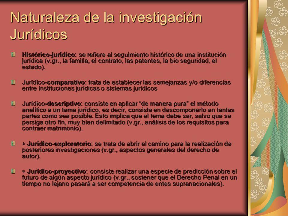 Naturaleza de la investigación Jurídicos Histórico-jurídico: se refiere al seguimiento histórico de una institución jurídica (v.gr., la familia, el co