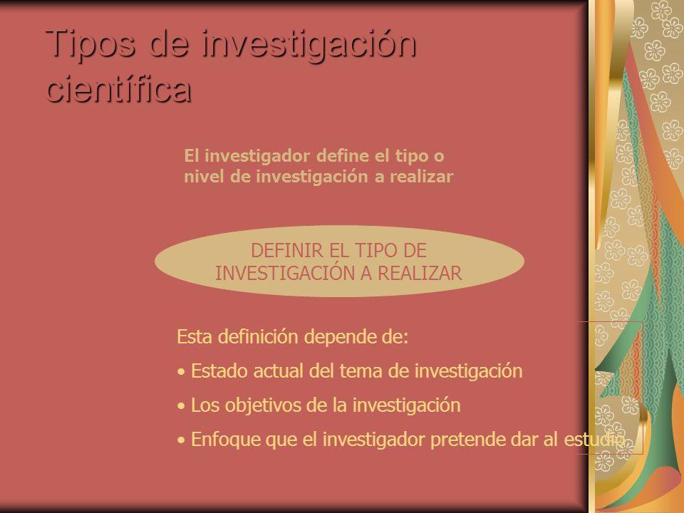 Tipos de investigación científica DEFINIR EL TIPO DE INVESTIGACIÓN A REALIZAR El investigador define el tipo o nivel de investigación a realizar Esta