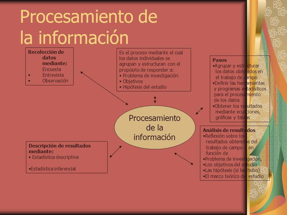 Procesamiento de la información Recolección de datos mediante: Encuesta Entrevista Observación Es el proceso mediante el cual los datos individuales s