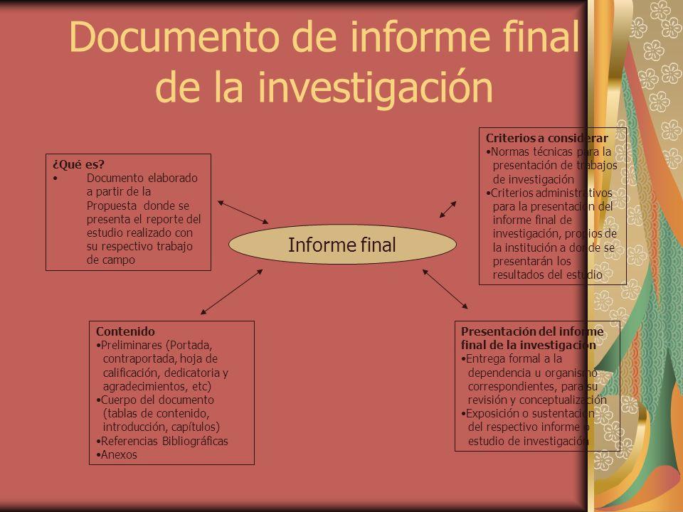 Informe final ¿Qué es? Documento elaborado a partir de la Propuesta donde se presenta el reporte del estudio realizado con su respectivo trabajo de ca