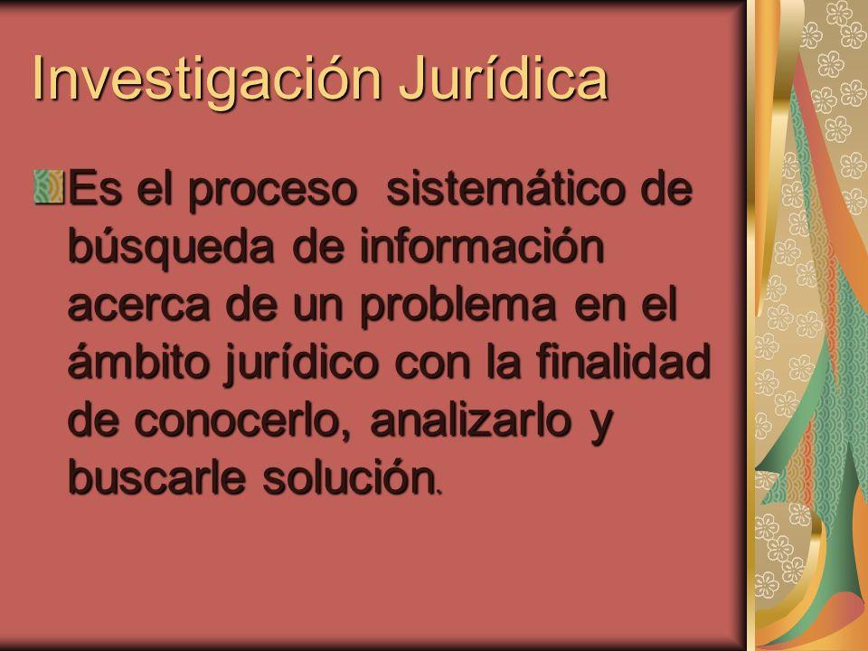 Investigación Jurídica Es el proceso sistemático de búsqueda de información acerca de un problema en el ámbito jurídico con la finalidad de conocerlo,