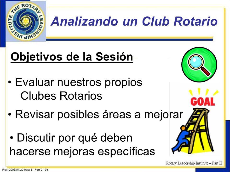 19 Analizando un Club Rotario Objetivos de la Sesión Evaluar nuestros propios Clubes Rotarios Revisar posibles áreas a mejorar Discutir por qué deben