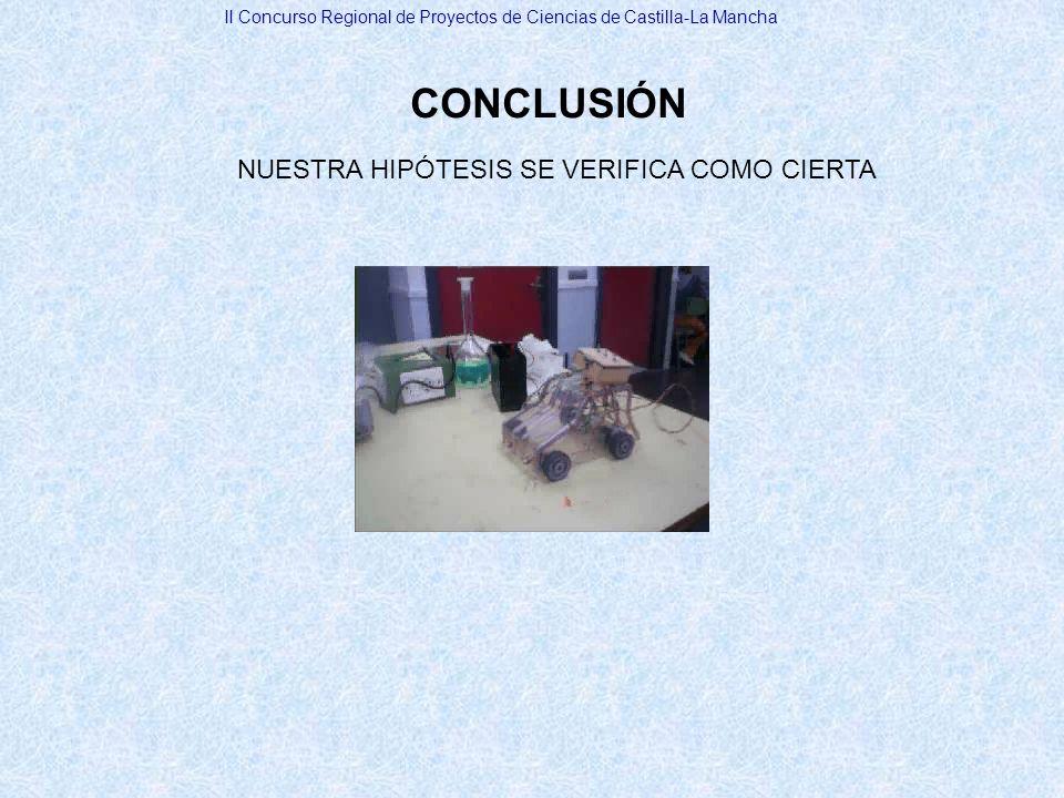 CONCLUSIÓN NUESTRA HIPÓTESIS SE VERIFICA COMO CIERTA II Concurso Regional de Proyectos de Ciencias de Castilla-La Mancha